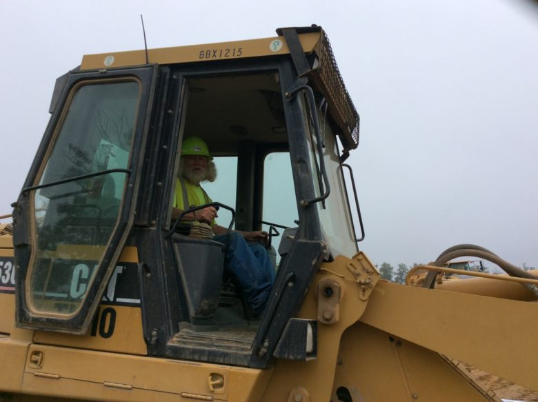 bulldozer and worker